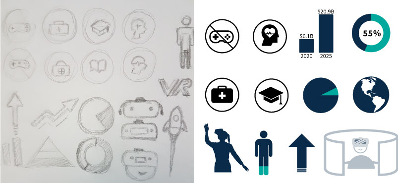 sketch and finalized version of varies icons