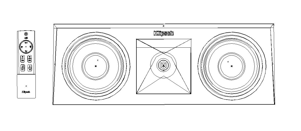 traced image of a speaker and remote