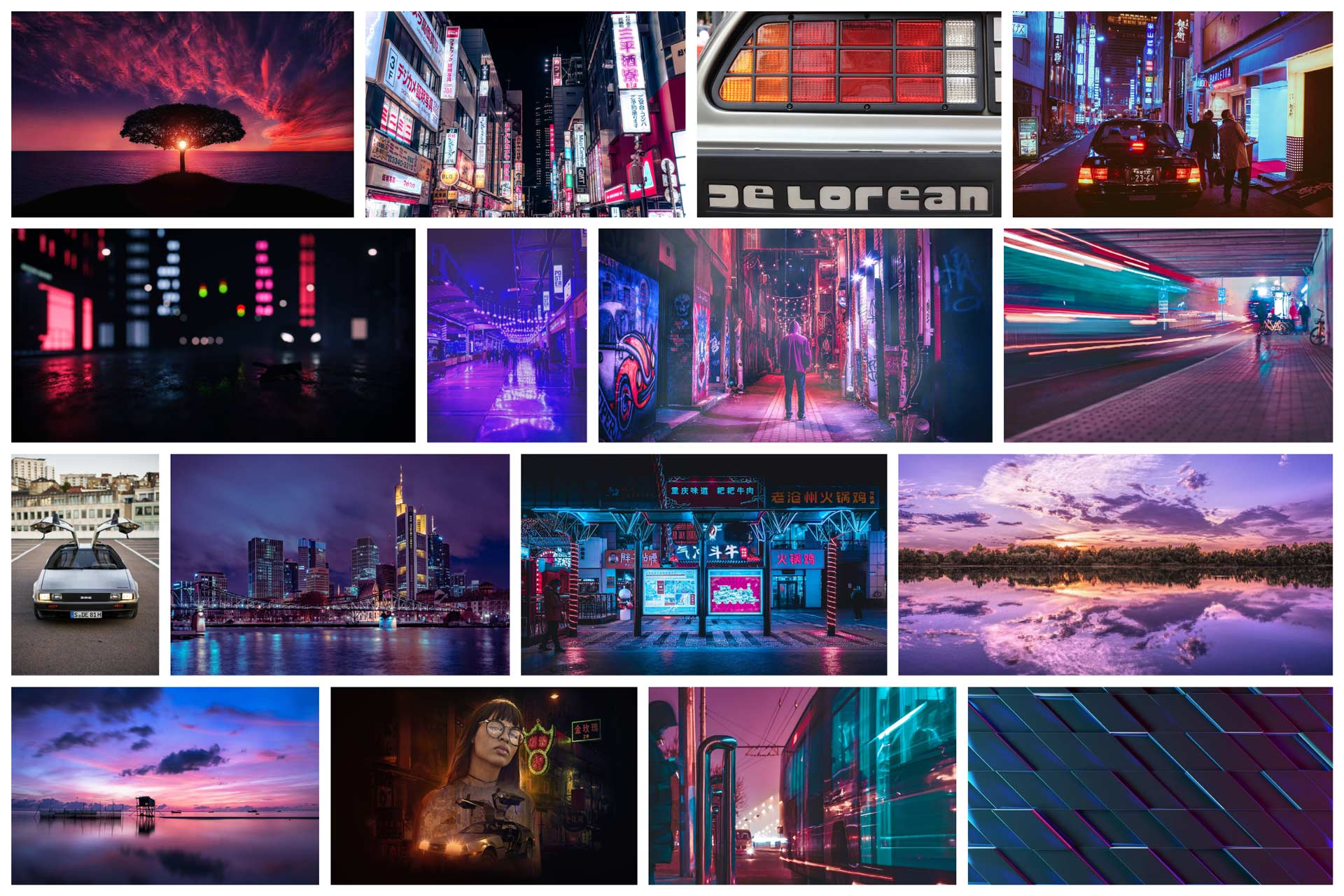 series of images with a purple and sunset theme