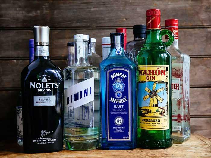 series of gin drink bottles