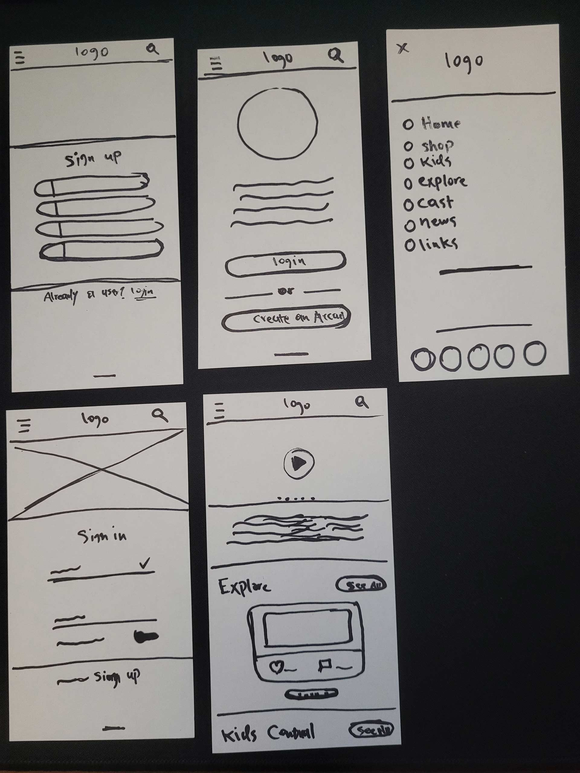 paper prototypes of an app